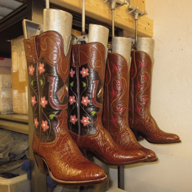 Finishing two pairs of boots