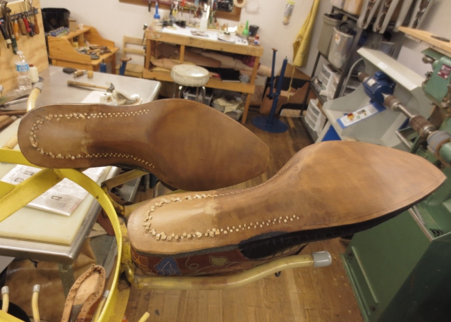 Sanding the soles smooth