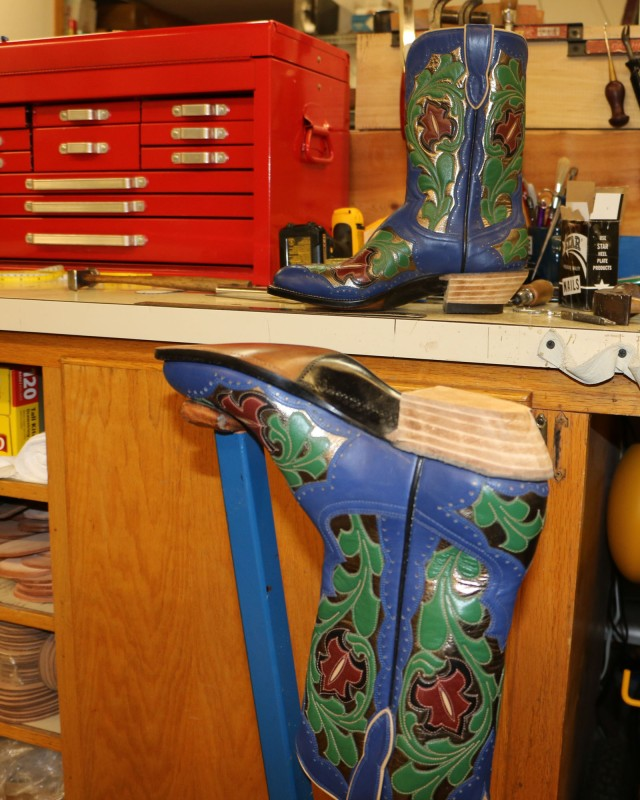 Blue boots, almost finished
